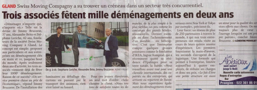 Article La Côte 13.09.2013 - THE SMC fête 1000 déménagements en 2 ans