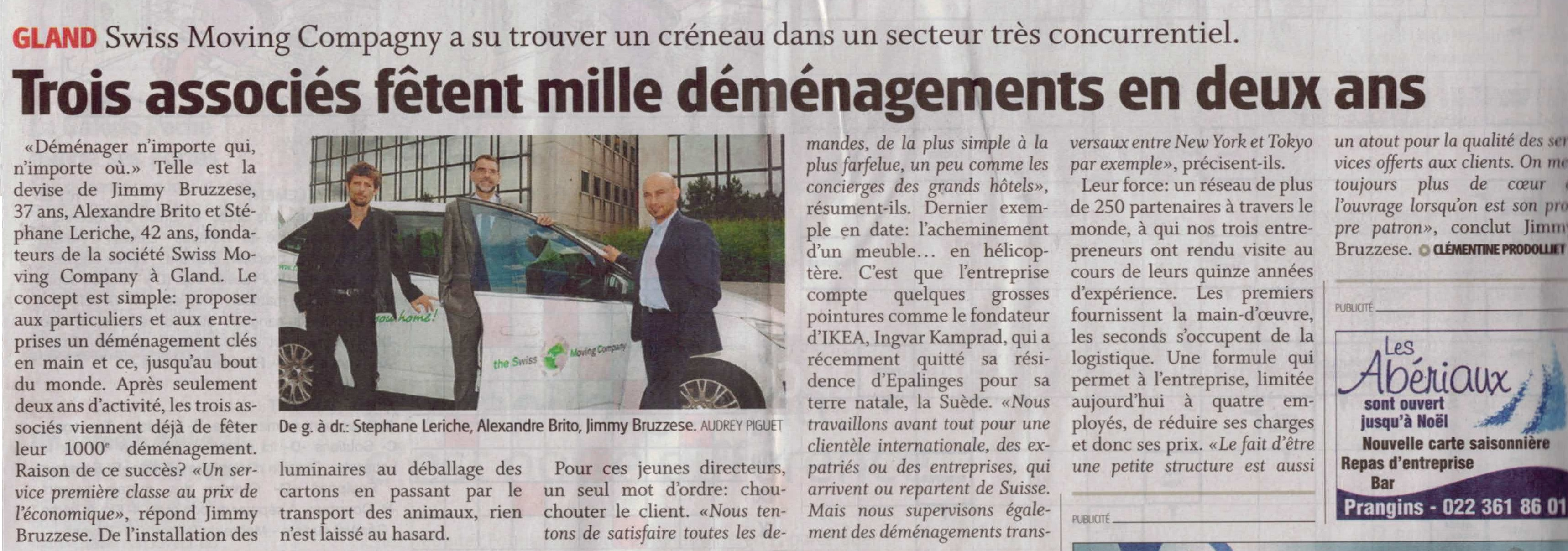 Article La Côte 13.09.2013 - the Swiss Moving Company Celebrates its 1'000th move in only 2 years